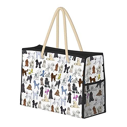 FJJLOVE Borsa grande borsa a spalla Beach barboncini bianche per le donne - Borsa borsa con maniglie