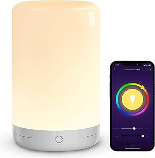 لامپ میز هوشمند ، چراغ خواب لمسی Gosund WiFi با پورت Micro-USB ، لامپ کمد شبانه با الکسا Google Home کار می کند ، برنامه کنترل ، چراغ شبانه LED RGB قابل تنظیم و تغییر رنگ برای اتاق خواب