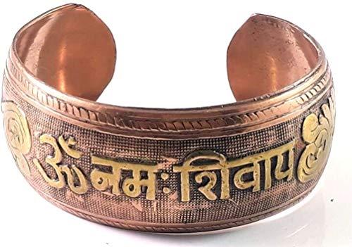 Pulsera curativa de cobre – fórmula de 3 metales para equilibrio y curación arte decorativo energía positiva, regalo de yoga curación Om Namah Shivaya con hermosa bolsa