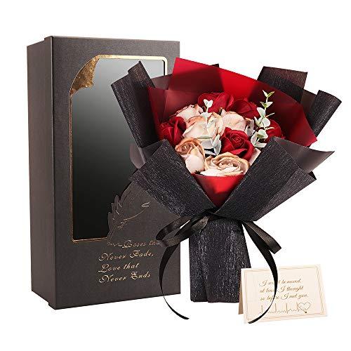 ソープフラワー MINKUROW 枯れない 花 ギフト 花束 ボックス バラ 石鹸 フラワー お祝い 誕生日 記念日 女性 先生の日 バレンタインデー 昇進など プレゼント 32cm*20cm*12.5cm