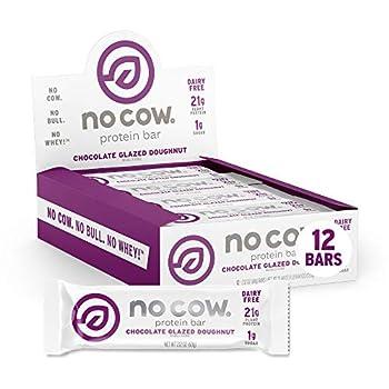 No Cow Protein Bar Chocolate Glazed Doughnut 22g Plant Based Protein Keto Friendly Low Carb Low Sugar Dairy Free Gluten Free Vegan High Fiber Non-GMO 12Count