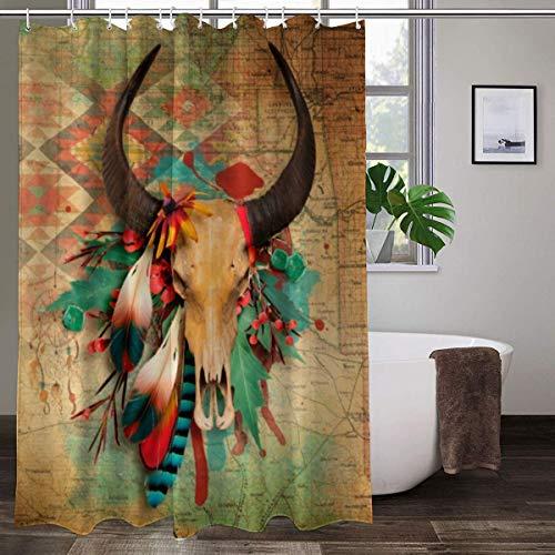 Duschvorhang mit 12 Haken, Motiv: Südwest Indianer-Totenkopf, türkisfarbene Federn, strapazierfähiges Polyestergewebe, Badezimmer-Vorhang 183 x 183 cm