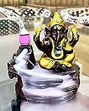 Fabric Lord Ganesha Smoke Backflow Cone Incense Holder Showpiece, 4 x 5, Multicolour, 10 Smoke Backflow Scented Cone Incenses