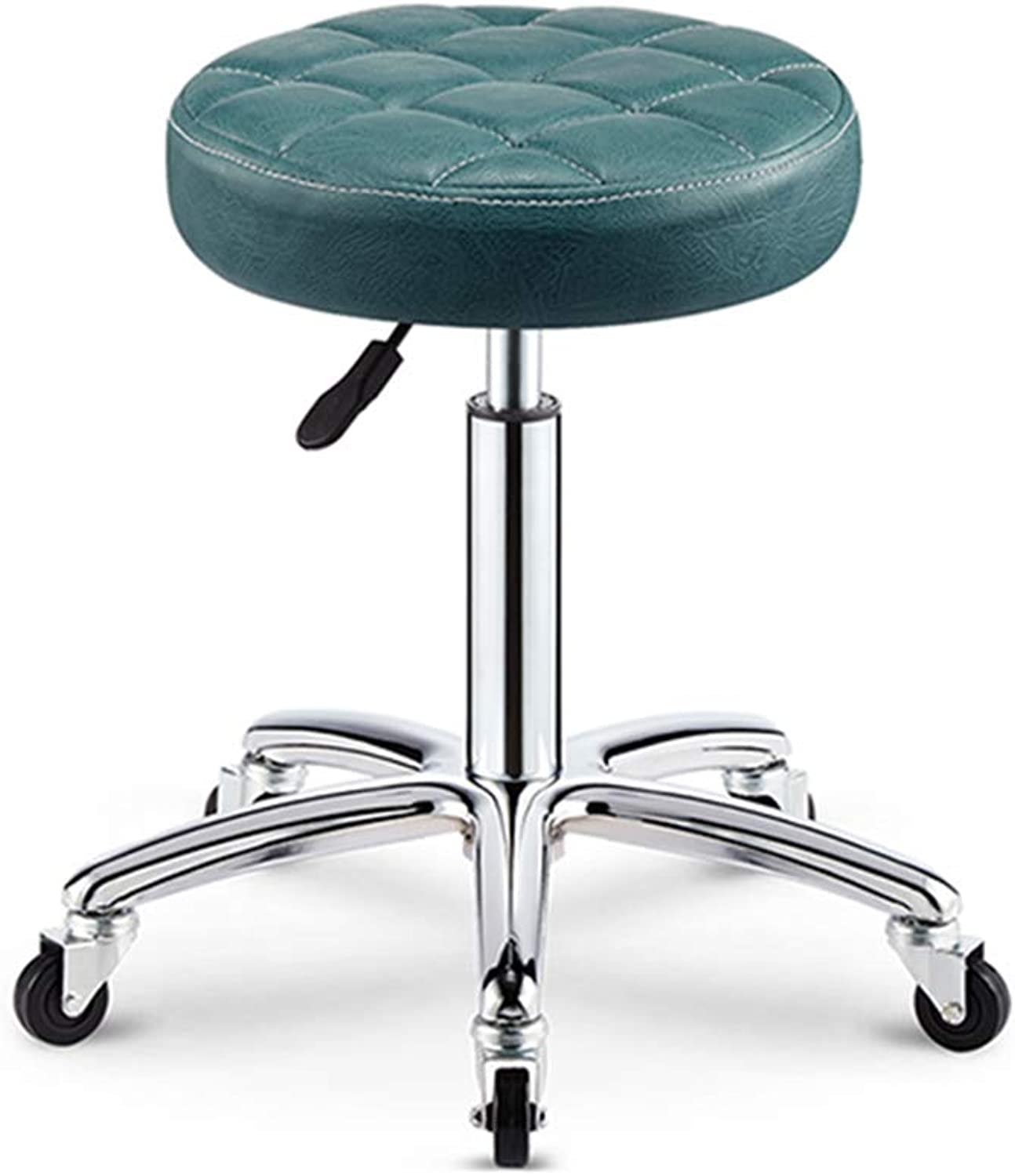 ZUOANCHEN Bar Stools PU Leather Rolling Low Swivel Stool Height Adjustable from 44-59 cm for Kitchen Bar Salon Spa Clinic with Casters (color   bluee, Size   One)