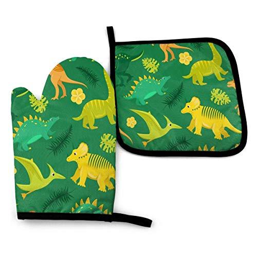 N\A 2pcs Heat Resistant Oven Mitt and Pot Holder Dinosaurs Tropical Leaves Potholder Oven Mitten Glove Mat