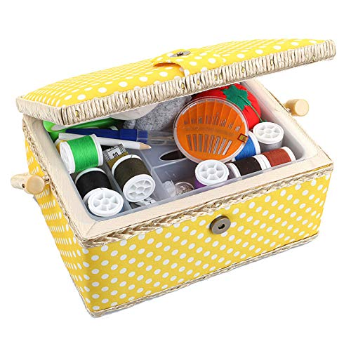 Large Sewing Basket with Accessories Sewing Organizer and Storage with Complete Sewing Kit Tools - Wooden Sewing Box with Removable Tray and Tomato Pincushion for Sewing Mending - Yellow