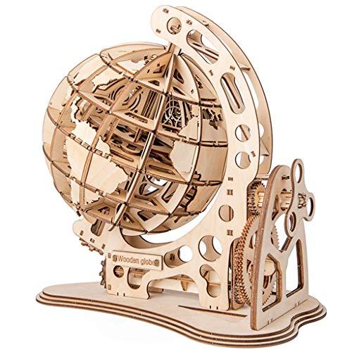 Skryo Hölzernes 3D Globus Puzzle, selbstmontierender mechanischer Antrieb, DIY Rätsel eine schöne Geschenkidee für kleine Kinder