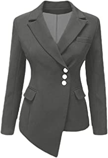 Fashion Womens Fashion Slim Fit Casual Irregular Work Office Blazers Oblique Button Jacket