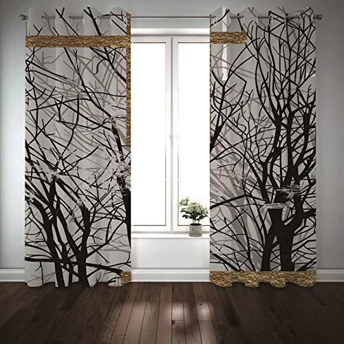 Kihomedy Cortinas opacas insonorizadas para dormitorio, rama de árbol, color blanco y negro, tratamiento de ventana, decoración de sala de estar, 2014 x 150 cm, 2 paneles