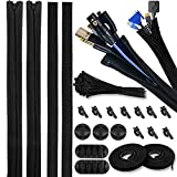 """Versatile Cable Management Organizer Kit-PC Cable Management Sleeves with Zipper-393"""" Resuable Cable Straps-100 Fastening Cable Ties-5 Cable Holders for Hiding PC/USB Cords"""