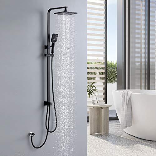 Lonheo Schwarz Duschsystem 2 Funktionen Duscharmatur mit Regendusche und Handbrause, Schwarz Duschset ohne Wasserhahn