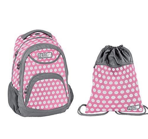 Paso Set Rucksack pink mit Punkten Schulrucksack 18-2708PI Turnbeutel