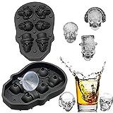 FLZONE Molde de la bandeja del cubo de hielo del cráneo 3D, fabricador de cubitos de hielo de silicona flexible de grado alimenticio para Cocktails, Whisky, Licor y otras Bebidas(Con embudo)