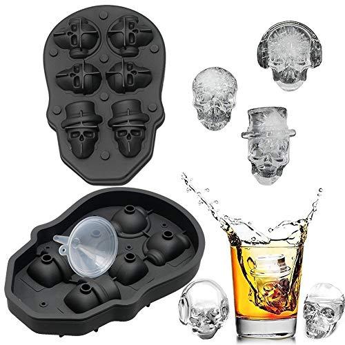 FLZONE 3D Totenkopf Silikon Eiswürfelform,lustiger Eisschädel für Whiskey,Cocktails,Likör und Saft Getränke mit Mini-Trichter