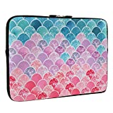 Mermaid Fish Scale Laptop Sleeve Bag 13-13.3 Inch, Water Repellent Neoprene Light Weight Computer Skin Bag, Notebook Carrying Case Cover Bags