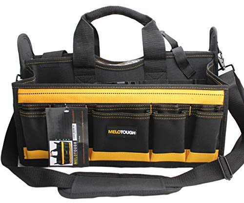 Melo Tough 17'' Center Tray Tool Bag with shoulder strap, HAVC Tool bag, Open Top Tool Carrier