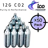 Impeccable Culinary Objects (ICO) ICOC1250 12g Co2 Cartridges (50 Pack), 50 Piece