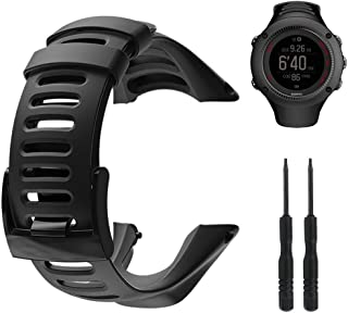 Amytalk Suunto Ambit Watch Band Strap, Soft Black Rubber Watch Replacement Band Watch Strap Accessory Strap for Suunto Ambit 1/2/2S/2R/3 Sport/3 Run/3 Peak, Black Clasp