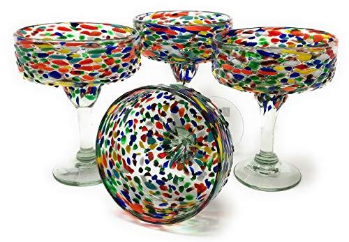 Mexikanisches mundgeblasenes Glas - 4er Set mundgeblasene Margarita-Gläser Confetti Rock (16oz) ...