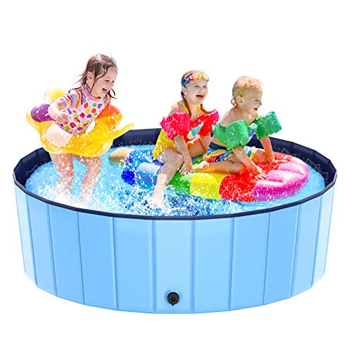 Foldable Kiddie Pool, Hard Plastic Swimming Pool for Kids Large(48''×15.8'') , Summer Portable Kids Play Pool Dog Water Pond Pet Bathing Tub Wash Tub Toddlers Ball Pit for Kids Pets Dogs Cats