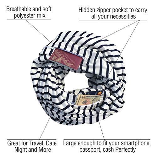 Clever Travel Companion Travel Scarf with 2 Hidden Zipper Pockets, 100% Pickpocket Proof Holiday Tour (Black/White Stripes)