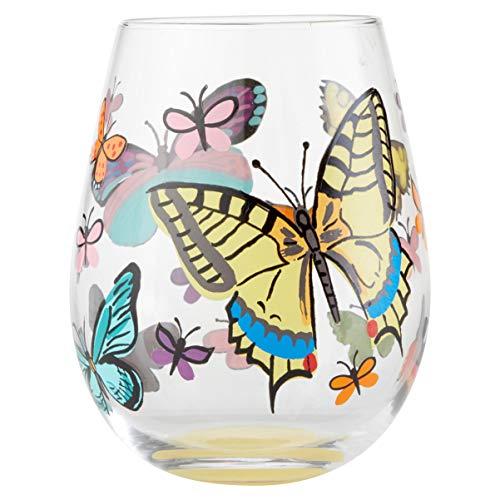 Lolita 6004351 Enesco Designs Vlinder Stemless Wijnglas, 20 oz, Multi kleuren