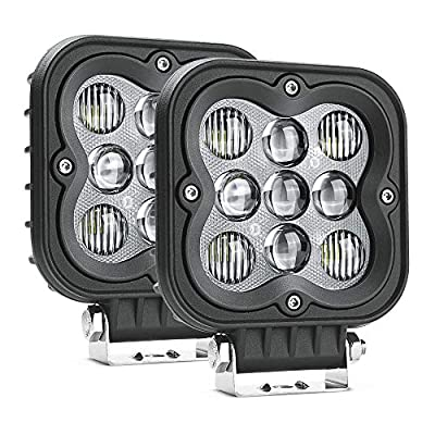MICTUNING WS1 2Pcs 4.4 Inch 27W LED Light Pods, 2335lm Spot Flood Combo Beam Off Road Driving Lights White Light