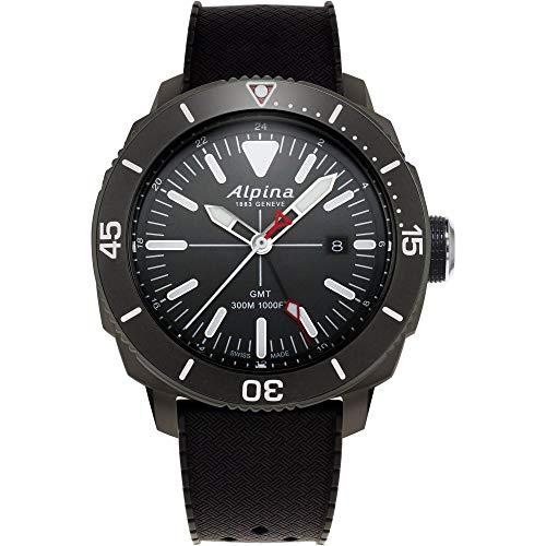 Alpina Men's Seastrong Diver Titanium/Stainless Steel Swiss Quartz Diving Watch with Rubber Strap, Black, 22 (Model: AL-247LGG4TV6)