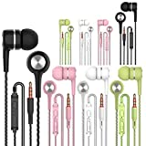 A12 Headphones Earphones Earbuds Earphones, Noise Islating, High Definition, Fits All 3.5mm Interface,Stereo for Samsung, iPhone,iPad, iPod and Mp3 Players (Black+White+Pink+Green 8pairs)