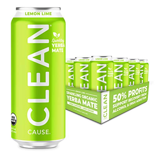 Lemon Lime Sparkling Yerba Mate - Organic, Low Calorie & Low Sugar (160mg Caffeine), 16oz cans, 12-pack - CLEAN Cause - 50% Profits Support Alcohol & Drug Addiction Recovery