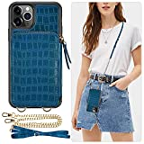 iPhone 11 Pro Wallet Case, ZVE Zipper iPhone 11 Pro Case with Card Holder Slot Crossbody Chain Purse Wrist Strap Crocodile Skin Leather Protective Cover for Apple iPhone 11 Pro 5.8 inch - Blue Green
