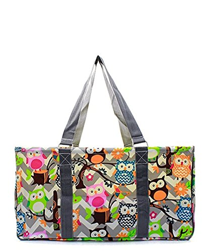 N. Gil All Purpose Open Top 23' Classic Extra Large Utility Tote Bag 2 (Chevron Owl Grey Grey)