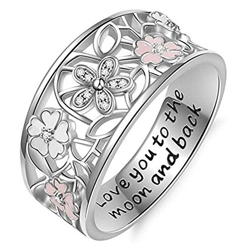LJWJ Rings Women Ring Elegant Girls Jewelry Gifts,Flowers Design Creative Lovers Accessories Anniversary/Silver/No. 10