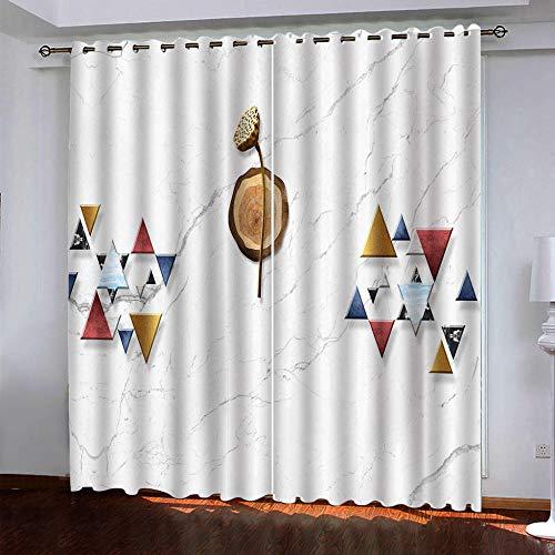 RXWZRL Cortinas Opacas Habitacion Infantil 3D Triángulos Geométricos Coloridos Estampadas Cortinas Dormitorio Salon con Ojales para Hogar Decoración Termicas Aislantes Frio Calor 100X160 Cm 2