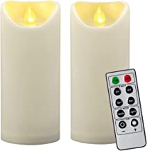 "2PCS 7"" Outdoor Waterproof Flameless LED Pillar Candles with Remote Timer/Battery Operated Electric Flickering Plastic LED..."