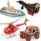 3D Wooden Puzzles for Kids Ages 8-10 Years Old and Adults, 4-Pcak Individually Wrapped 3D Puzzles Party Favors DIY Kit for Boys- Helicopter, Fighter, Lifeboat, Jeep, Great Gifts for Boys