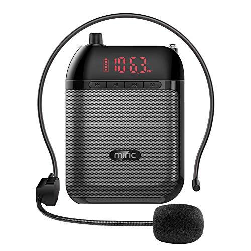 Miric Sprachverstärker, Stimmverstärker mit 5V / 1200mAh Lithium Batterie Kabel, Eingebauter TF Karte und Headset-Mikrofon, Unterstützt Kabelloses Audio, UKW-Radio Usw, für Trainer/Lehrer/Reiseführer