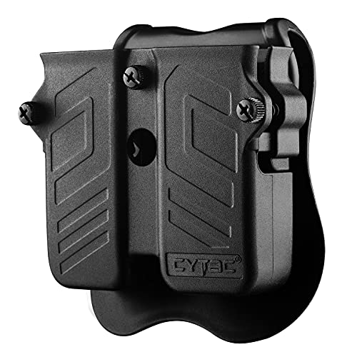 Double Magazine Pouch Fit 9mm 10mm .40 .45 Caliber Dual & Single Stack Magazines - Universal Mag Holder | Polymer Paddle Holster | Adjustable Size & Cant | Ambidextrous | Outside Waistband | Black
