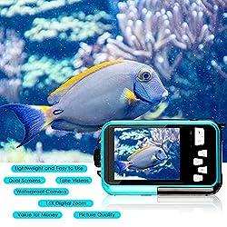 Image of Waterproof Camera Full HD 1080P Underwater Camera 24 MP Video Recorder Selfie Dual Screen DV Recording 16X Digital Zoom Waterproof Digital Camera for Snorkeling: Bestviewsreviews