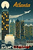 Atlanta, Georgia, Retro Skyline 46810 (12x18 Art Print, Wall Decor Travel Poster)