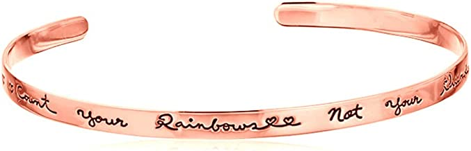Rando Count Your Rainbows Not Your Thunderstorms Inspirational Cuff Bracelet Engraved Bangle Daily Reminder Personalized Mantra Jewelry Gift
