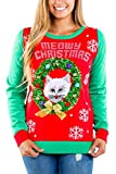 Tipsy Elves Ugly Christmas Sweater for Women Meowy Christmas Adorable Kitten in a Wreath Red and Green Holiday Pullover Size XL
