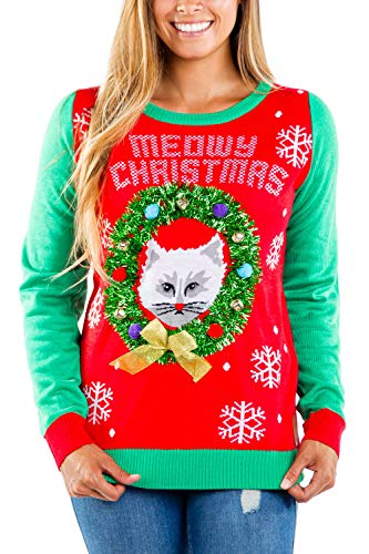 Tipsy Elves Ugly Christmas Sweater for Women Meowy Christmas Adorable Kitten in a Wreath Red and Green Holiday Pullover Size L