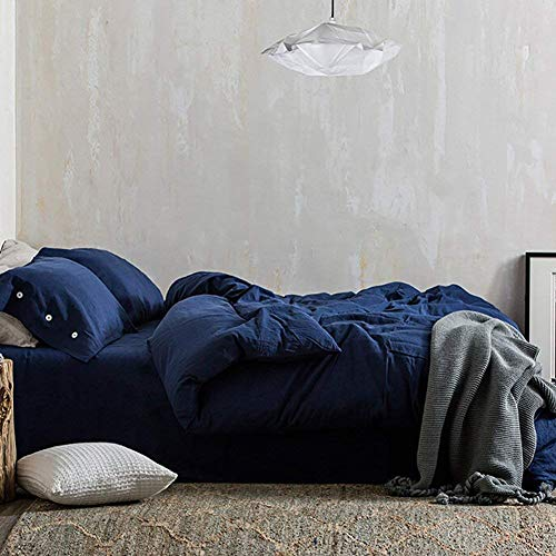 Blue Duvet Cover Set Queen, 3 Piece - 1200 TC Hotel Luxury Microfiber Down Comforter Quilt Bedding Cover with Deco Buttons, Zipper, Ties - Best Modern Style for Men and Women, Navy
