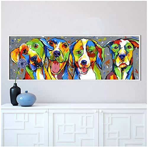 Arte de la pared Pintura al óleo animal Cuadro de la lona del perro para la sala de estar Cachorro Amistad Decoración para el hogar-40x120cm Sin marco