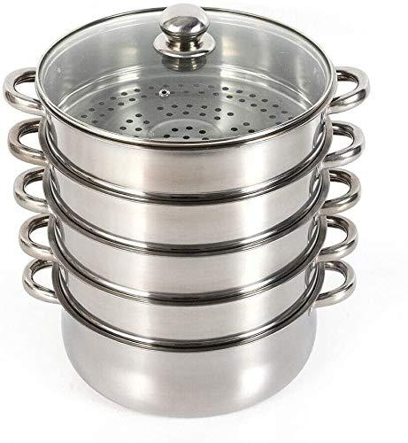 Tanti 5 Etagen Edelstahl Dampfgarer mit Glasdeckel, Gardampfkochtopf Set, Edelstahl Dampfgarer Kochen Mehrzwecktopf, 30cm