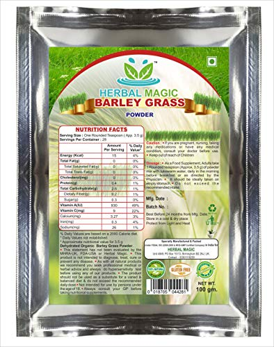Herbal Magic's Certified Organic Barley Grass Powder 100g Immunity Digestion with Vitamin C A Calcium Iron