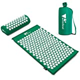 amzdeal Set Tappetino Agopressione, Include Tappetino per Agopressione+ Cuscino + Borsa, per Massaggi Che alleviano i dolori a Schiena e Collo (Verde)
