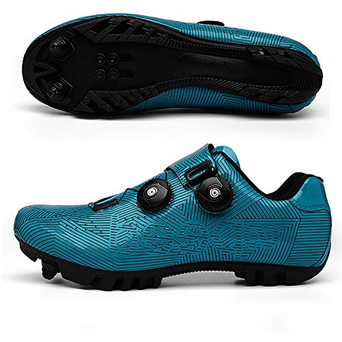CHANGAN Elite SPD MTB Cycling Shoes for Men Women Ideal for Mountain, Cyclo Cross Country XC Bikes in Included Blue-43