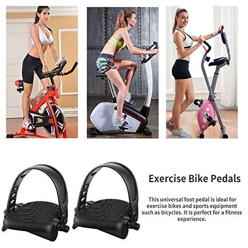 Falliback Gym Pedale 1 Paar für Heimtrainer mit verstellbaren Pedalgurten Set Fahrrad Cycle Home Gym Spares Black, 13.6X10.8X5.3cm